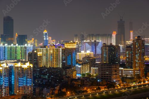 Fototapety, obrazy: Wuhan Yangtze River and city night and light show scenery
