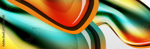 Vector abstract background, flowing liquid style bubble with metallic, color qui Fototapete
