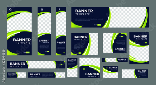 Fotografia set of corporate web banners of standard size with a place for photos