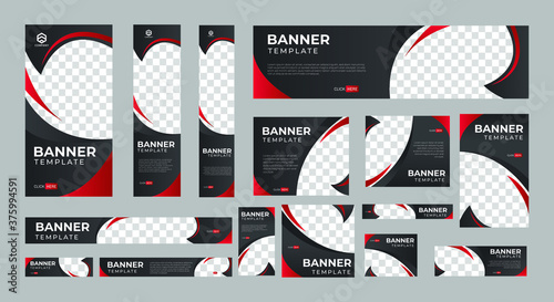 Stampa su Tela set of corporate web banners of standard size with a place for photos