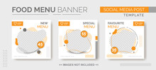 Food Menu Banner Template, Social Media  Food Tamplate, Instagram Post Food Template With Orange And Gray Color