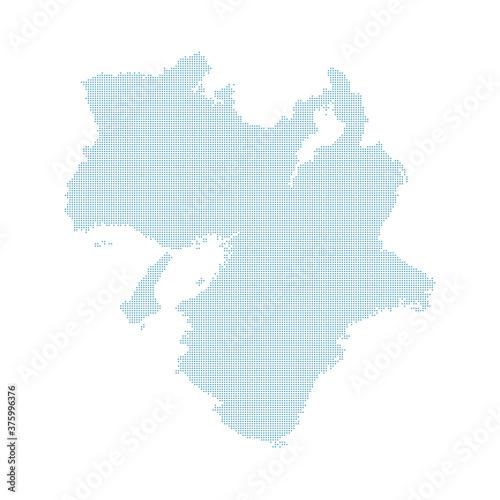 dotted Japan map, Kansai region. Canvas