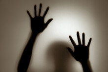 Ghost Concept Shadow Of A Woman Behind The Matte Glass Blurry Hand And Body Soft Focus