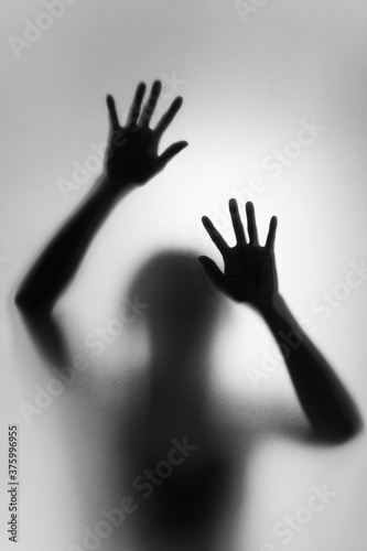 Obraz Ghost concept shadow of a woman behind the matte glass blurry hand and body soft focus - fototapety do salonu