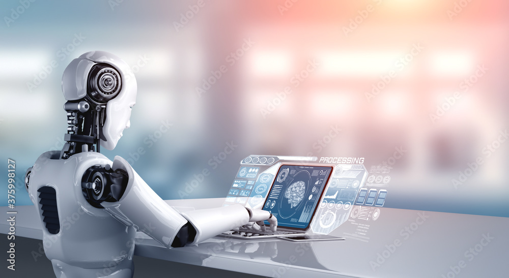 Fototapeta Robot humanoid use laptop and sit at table for big data analytic using AI thinking brain , artificial intelligence and machine learning process for the 4th fourth industrial revolution . 3D rendering.