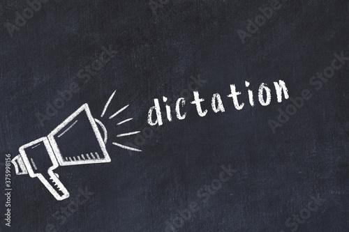 Stampa su Tela Chalk sketch of loudspeaker and inscription dictation