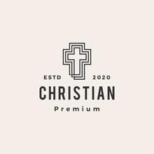 Christian Cross Hipster Vintage Logo Vector Icon Illustration
