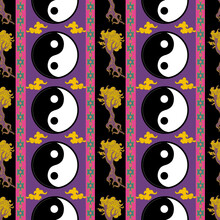 Bohemian Ethnic Seamless Pattern With Yin Yang Symbol, Trees And Oriental Ornaments. Asian Vibes.