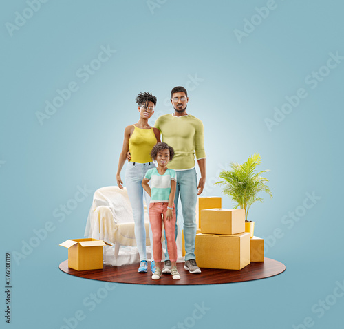 Unusual 3d illustration of a Happy african american family enjoying new home. #376008119