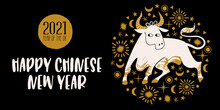 Chinese New Year 2021 Year Of The Ox, Vector Illustration, Greeting Card, Banner.