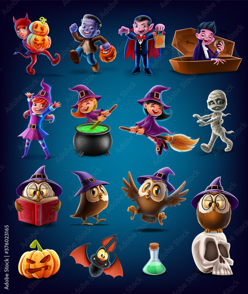 Fototapeta set of characters and icons for halloween