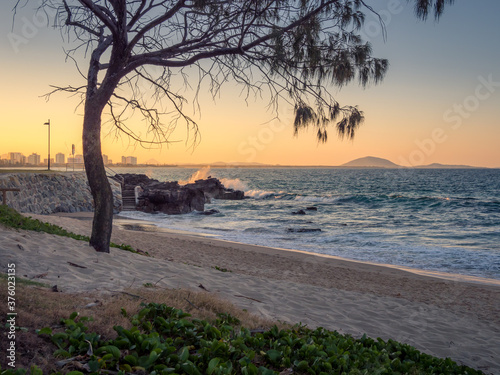 Beautiful Beachside Scene in Golden Afternoon Light Canvas Print