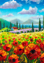 Vertical Flowers Painting, Red Poppies, Oil Paintings Landscape Impressionism Artwork Tuscany Landscape