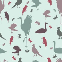 Seamless Pattern With Cute Bir...