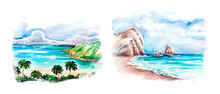 Aquarelle Set Of Seaside Sketch Art, Background Illustration