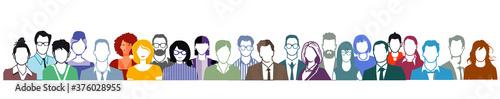 Fotografiet Gruppe von Personen Portrait, Gesichter auf weißem Hintergrund.