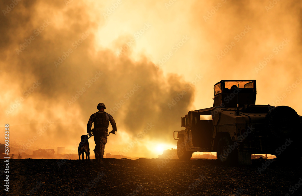 Fototapeta Military soldier with a dog between smoke in the battle field