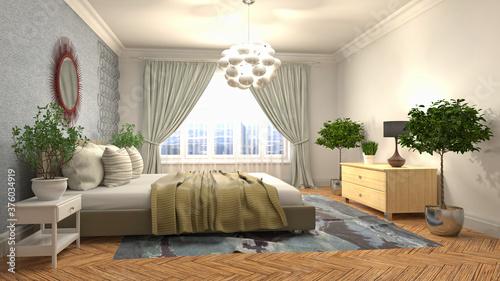 Fototapeta Bedroom interior. Bed. 3d illustration
