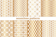 Gold Seamless Pattern. Chinese, Japanese Background. Golden Collection Pattern. Asian Oriental. Set Background. China Style Traditional Texture. Abstract Ornament For Design Wallpapers, Prints. Vector