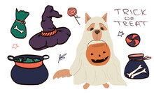 Big Set Of Kawaii Funny Halloween Elements, Characters, With Text, Haunted House, Pumpkins, Ghosts, Cat, Mummy . Isolated Objects. Hand Drawn Vector Illustration. Line Drawing. Design Concept Printing