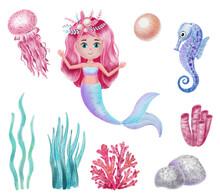 Watercolor Mermaid Holding Pearl Illustration