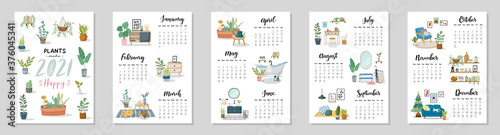Leinwand Poster Calendar 2021. Yearly Planner with all Months.