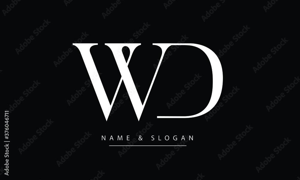 Fototapeta WD, DW, W, D Abstract letters logo monogram