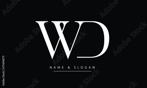 Obraz WD, DW, W, D Abstract letters logo monogram - fototapety do salonu