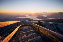 Mountain Footpath At Sunrise
