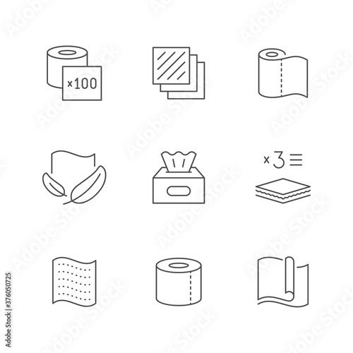 Tela Set line icons of napkins and toilet paper