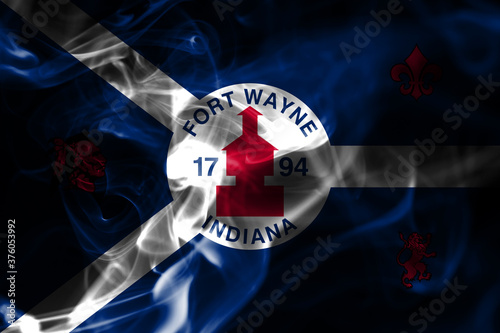 Fotografija Fort Wayne city smoke flag, Indiana State, United States Of America