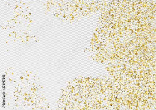 Fotografia, Obraz Yellow Star Paper Vector Transparent Background.