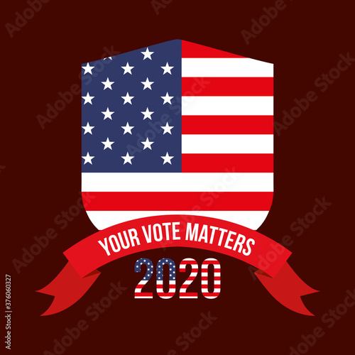 Fotografie, Obraz your vote matters 2020 with usa shield and ribbon vector design