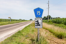 Weight Limit Sign On Rural Country Road. Concept Of Transportation, Safety, Trucking Industry And Road Repair