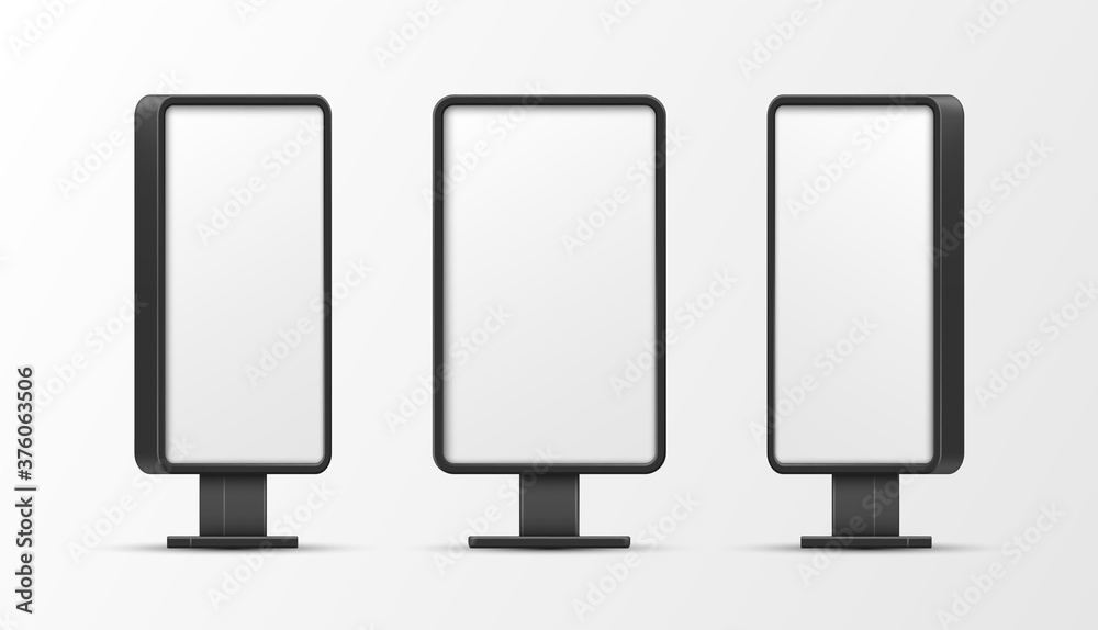 Fototapeta Lightboxes vertical empty mockups set. Screen illuminated outdoor templates for advertisement.