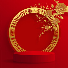 Podium Round Stage Podium And Paper Art Chinese New Year 2021 Year Of The Ox , Red Paper Cut ,flower And Asian Elements With Craft Style On Background.