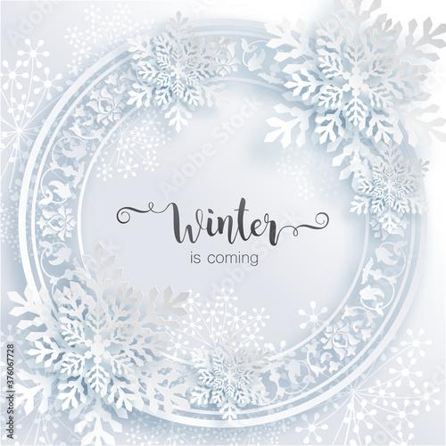 Snowflakes design for winter with place text space Billede på lærred