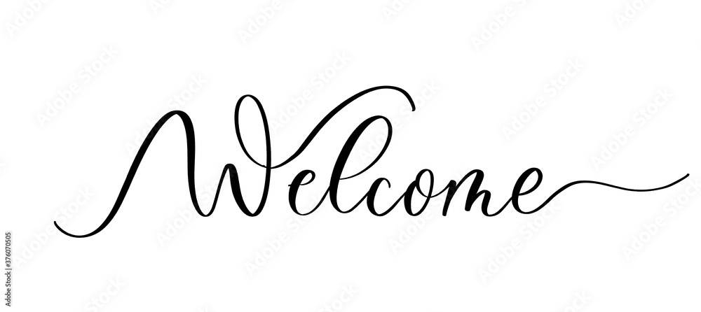 Fototapeta Welcome - vector calligraphic inscription with smooth lines.