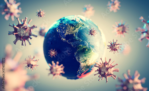 Coronavirus COVID-19 all around the Earth. #376071772