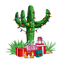 .Cactus Tree With A Garland Of Light Bulbs And A Variety Of Gifts. Tropical  Christmas. Festive Vector Illustration.