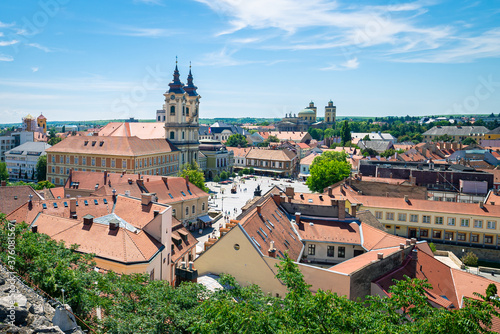 Obraz Center square and Minorita Church in the historic city of Eger in Hungary - fototapety do salonu