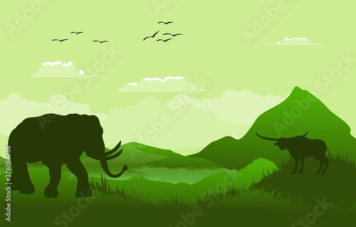 Foto Green Vector landscape with silhouettes of mountains, elephant, buffalo, african landscape