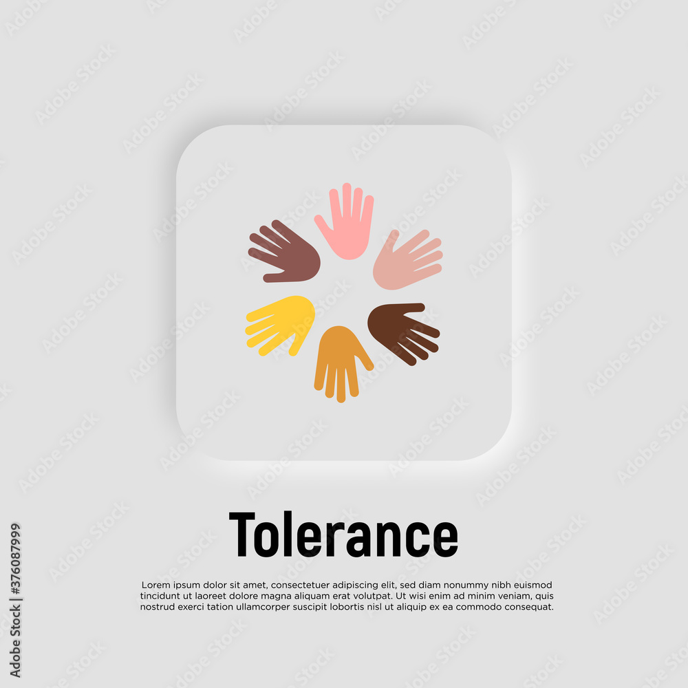 Fototapeta International day of tolerance. Multicultural partnership, pacifism, support and help to integration. Hands of different nationalities in circle. Flat icon. Vector illustration.