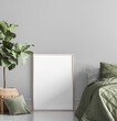 Leinwandbild Motiv Poster mock up in contemporary home decoration, Scandi bedroom design, 3d render