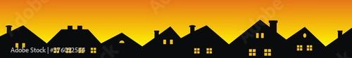 Fotografía Cityscape, roofs and windows, black silhouette on orange background, vector