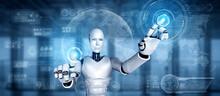 AI Humanoid Robot Touching Vir...