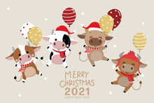 Year Of Ox142Merry Christmas And Happy New Year 2020. The Year Of The Ox. The Male Cow And Bull With Red Costume And Balloons. Animal Holidays Cartoon Character. -Vector