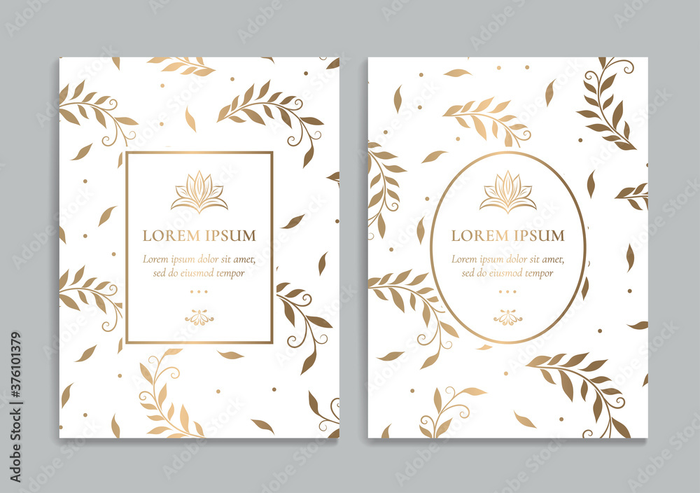 Fototapeta White and gold invitation cards with leaves design. Vintage ornament template. Can be used for background and wallpaper. Elegant and classic vector elements great for decoration.