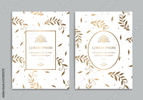 Fototapeta White and gold invitation cards with leaves design. Vintage ornament template. Can be used for background and wallpaper. Elegant and classic vector elements great for decoration. obraz