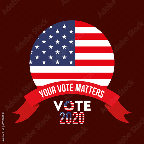 Fotografie, Obraz your vote matters 2020 with usa seal stamp and ribbon vector design
